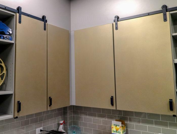 MClad cabinet panel facing cover upper doors in a breakroom / kitchen